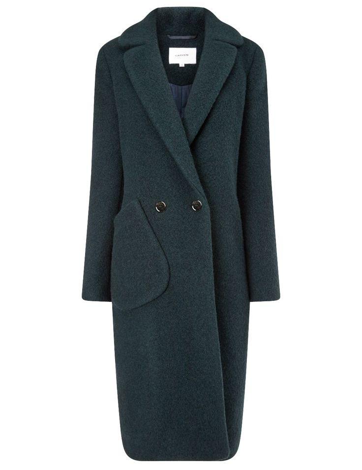 Bottle Green Long Wool Pocket Coat Carven - Siluette Langer Mantel