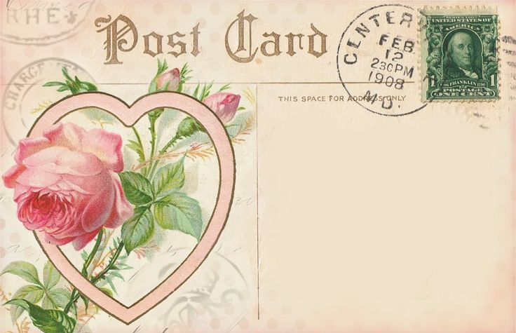 A Valentine Message ~ postcard with Rose and Heart (notecard)