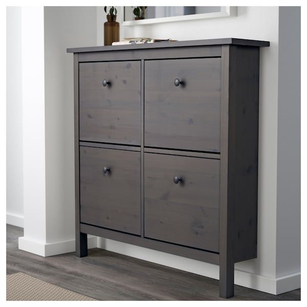 shoe cabinet with 4 compartments hemnes gray dark gray stained in rh pinterest com