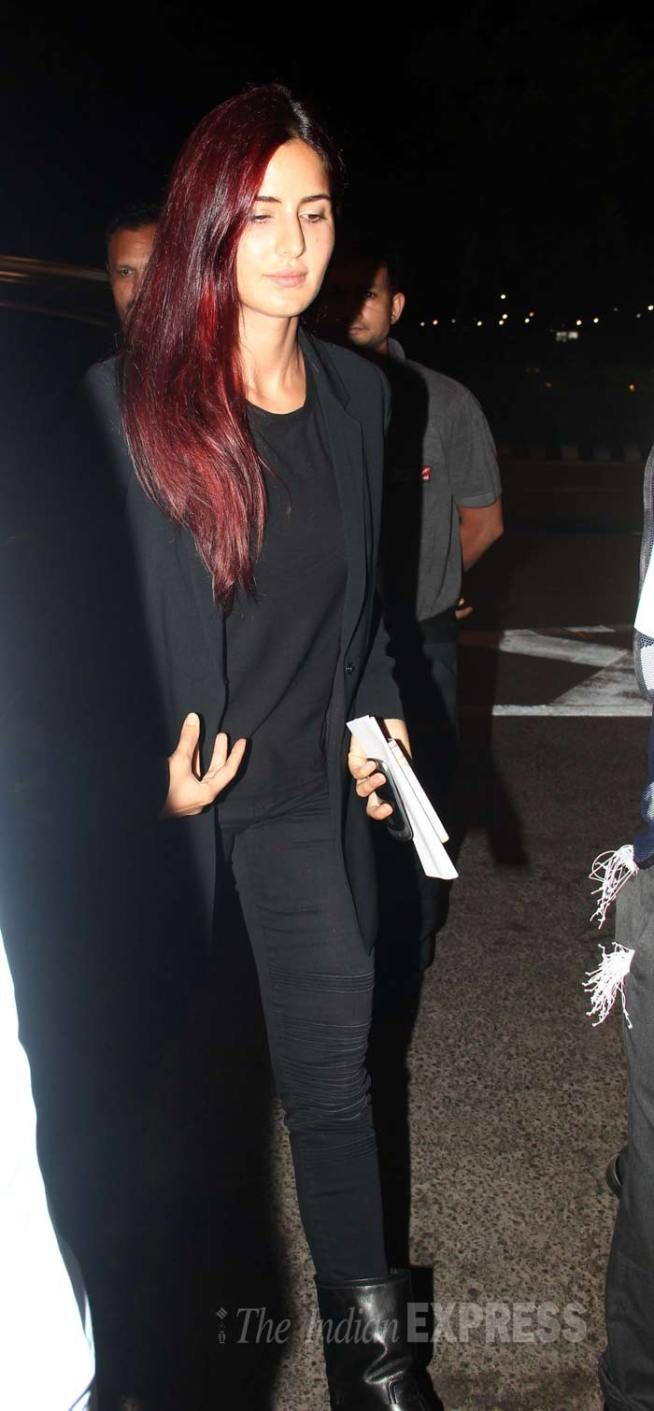 Katrina Kaif at Mumbai airport leaving for #Cannes2015.