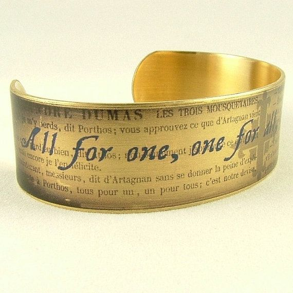 The Three Musketeers by Alexandre Dumas - All For One Literary Quote Slim Brass Cuff Bracelet - Book Jewelry