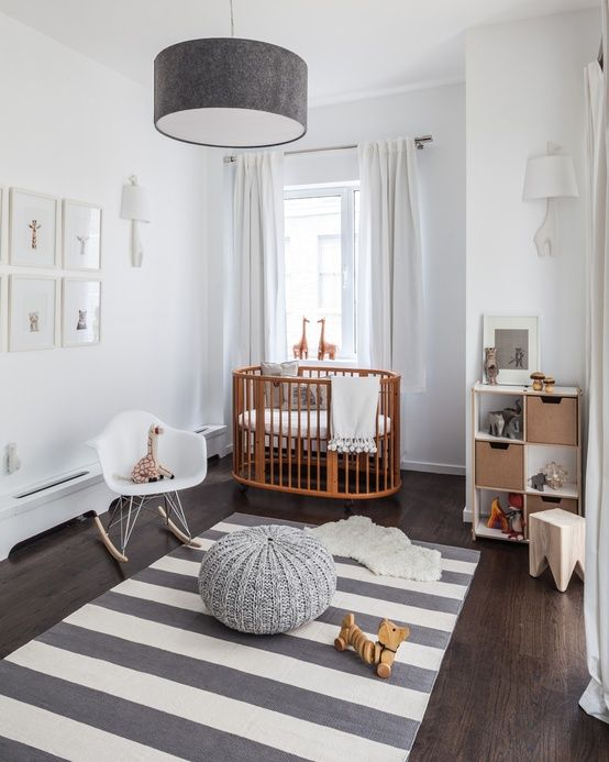 Modern Nursery with natural elements and a clean space