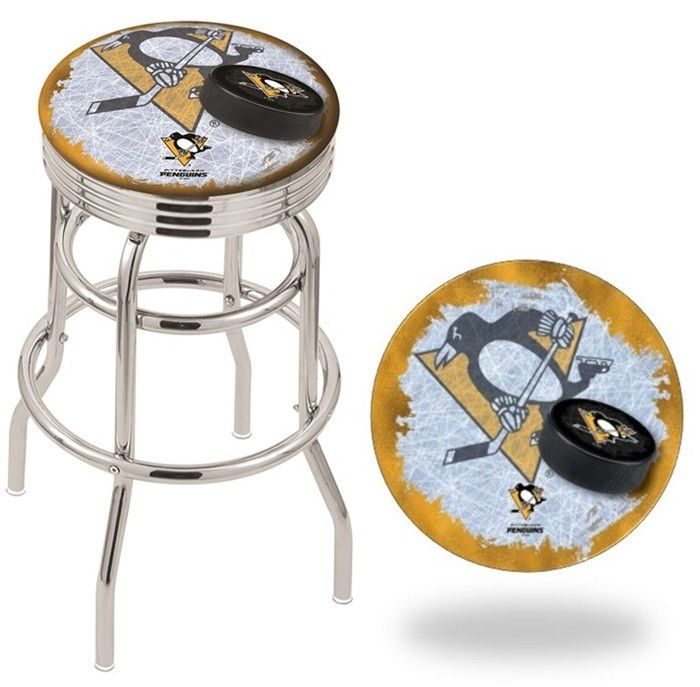 Pittsburgh Penguins NHL D2 Retro Chrome Ribbed Ring Bar Stool. Available in 25-inch and 30-inch seat heights. Visit SportsFansPlus.com for details.