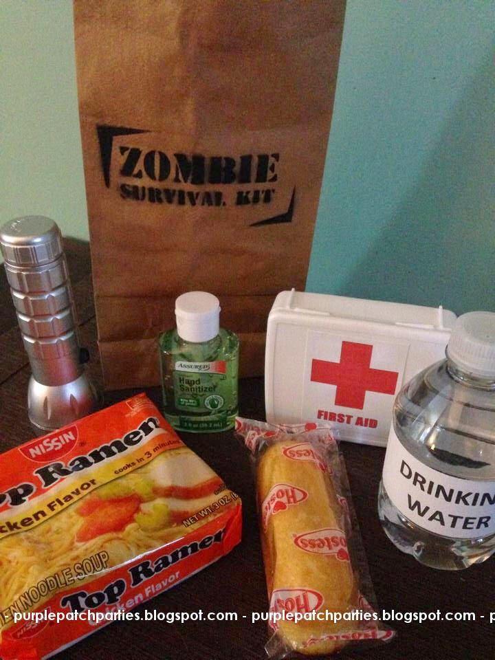 Walking Dead Party - Goody bags!  Err... Survival Kits #thewalkingdead