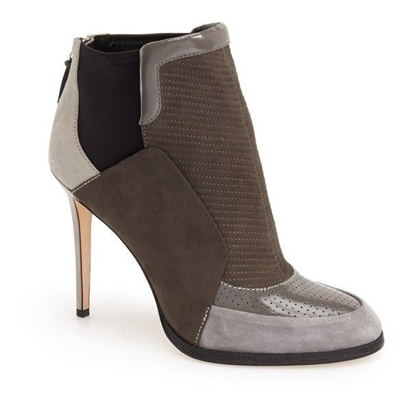 """L.A.M.B. 'Emerge' Bootie, 4"""" heel ($385) ❤ liked on Polyvore featuring shoes, boots, ankle booties, ankle boots, leather bootie, short leather boots, high heel ankle booties and stiletto booties"""