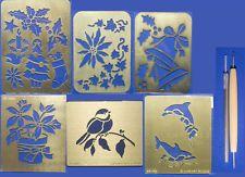 BRASS Goffratura Stencil NATALE, Uccello, Delfino + Goffratura Tools