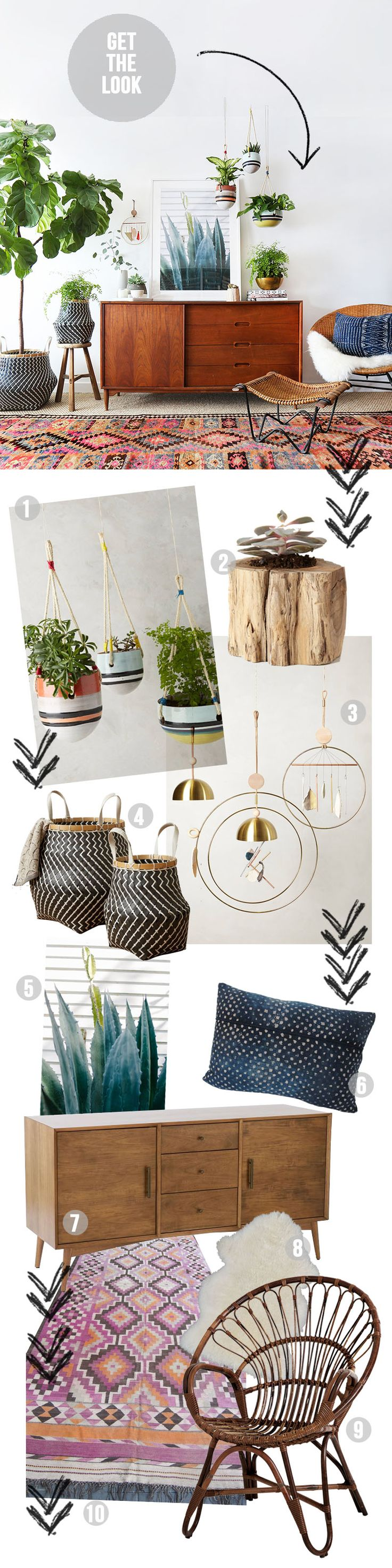 Light style for living room and a lot of light  Boho et Jungle - La touche d'Agathe - eclectic plant green hanging Bohemians Tropical bohème garland indoor greenery Boho vintage leaves palm botanical deco living room bedroom decoration intérieure
