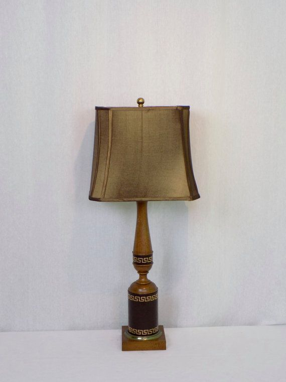 Mid Century Vintage Wood Table L& Wrapped Leather with Gold Greek Key Design - Rustic Neo Classical Home Decor Hollywood Regency Lighting & 93 best Lighting images on Pinterest | Parlour Oil lamps and ... azcodes.com
