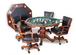"""48"""" 3 in 1 Dining, Poker and Bumper Pool Table - Antique Walnut"""