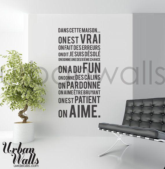 French Vinyl Wall Sticker Decal, Dans Cette Maison sur Etsy, $49.00 CAD