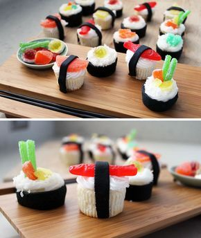Sushi Cupcakes - the only way Om Nom can eat sushi Whole Foods has all natural swedish (but not Swedish fish)