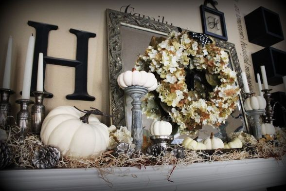 fall decor i have all the materials to make this happen love the white pumpkins holiday 39 s. Black Bedroom Furniture Sets. Home Design Ideas
