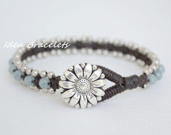 Very pretty Brazilian Aquamarine bracelet with Silver Beads Wrap, by IdeaBracelets, on Etsy for  $.