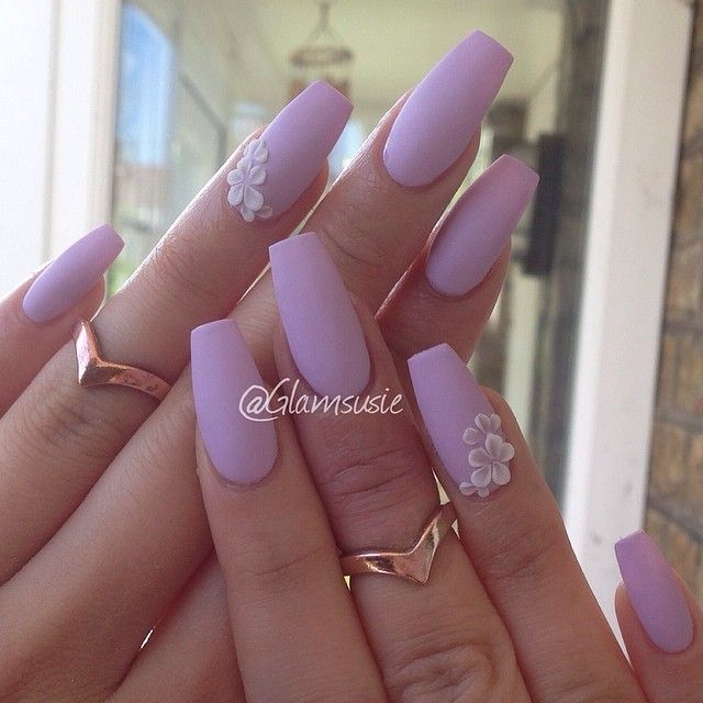 Matte Lilac Nail Polish Color. Coffin Nail Shape.