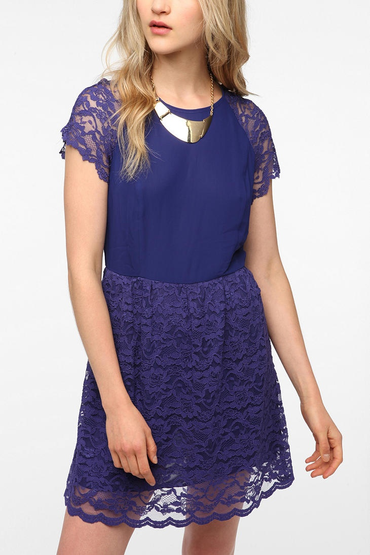 Pins and Needles Chiffon Lace Polly Dress