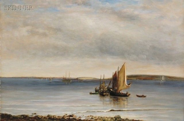"Walter Lofthouse Dean (1854-1912) Trawlers, Boston Fishing Boats of the Great Brewster, Massachusetts, signed ""W. L. Dean"" lower left, 20"" x 30"""
