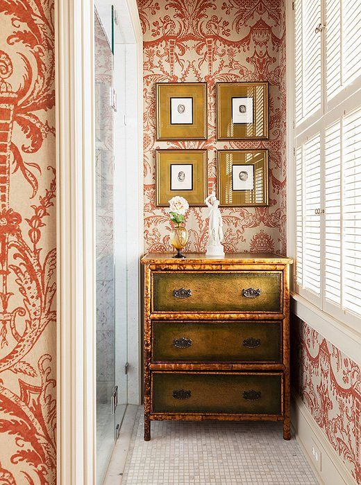 """Rambling patterns make small spaces look larger.  This wold be better if one wall were all wall covering."" Tanna Espy Miller, DesignNashville"
