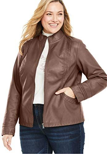 a9004a069d8 New Woman Within Plus Size Faux Leather Pleat Jacket Women Plus Size Coats  Jackets.