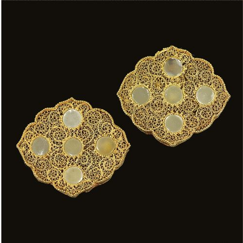TWO RARE JADE OR HARDSTONE-INLAID GOLD FILIGREE DRESS ORNAMENTS, GOLDEN HORDE, 13-14TH CENTURY