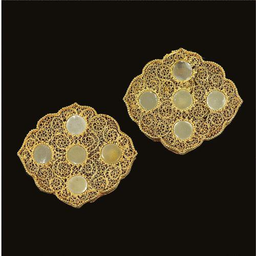 TWO RARE JADE OR HARDSTONE-INLAID GOLD FILIGREE DRESS ORNAMENTS, GOLDEN HORDE, 13-14TH CENTURY Оценка  20,000 — 25,000  GBP  Лот продан 25,000 GBP