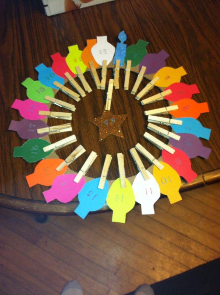 Advent Calendar Pin Wreath For Preschool Class Lights