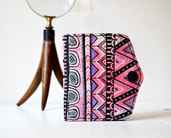 Hand Painted Leather Wallet Card Holder Coin by BarbaLeatherStudio