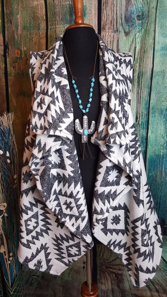 Cowgirl VEST AZTEC BLANKET Western Fall Gypsy Winter WARM Shawl Collar nwt S M #E2