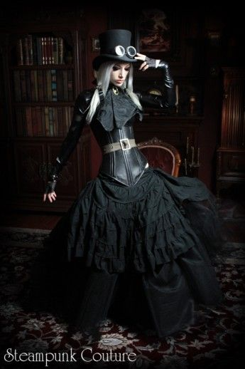 hard corset runch steampunk skirt model pose