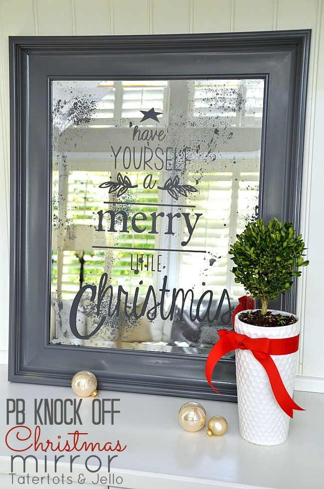 pottery barn inspired christmas mirror tutorial #DIY #Christmas