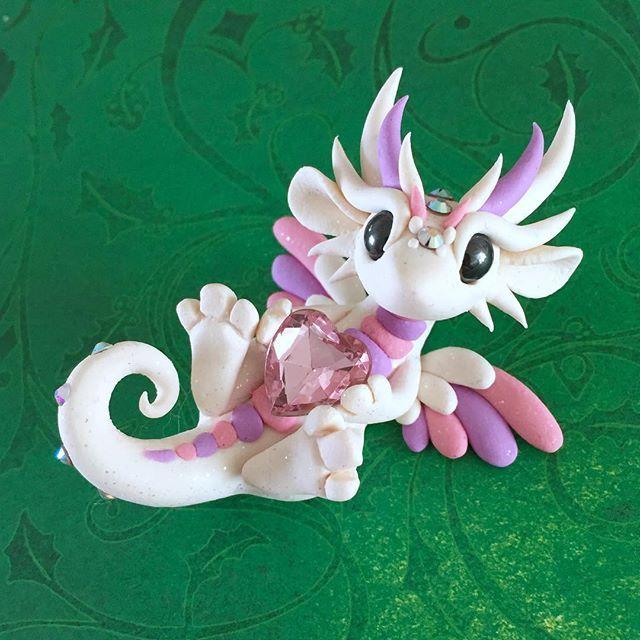 Sweet little angel dragon  #dragonsandbeasties #dragon #cute #claydragon #valentines2017 #angel #premo #sculpey #polymerclay #love