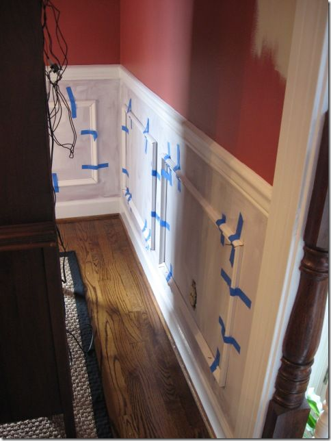 Picture frame moulding example - wainscoting (although I would never install across a corner like they did - it just looks goofy to me)