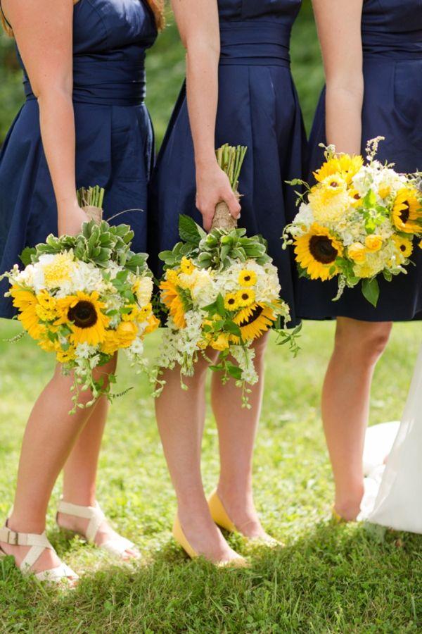 Navy bridesmaids dresses + sunflower bouquets | Katelyn James Photography | Heart Love Weddings