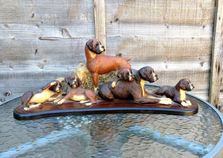 Red Brindle Boxer Figurine, Vintage Boxer Dog Figurine, Boxer Dog Family Figurine,  Dogs On Wooden Plinth, Mounted Boxer Dogs, Vintage  Dogs by CreationsOfOlde on Etsy
