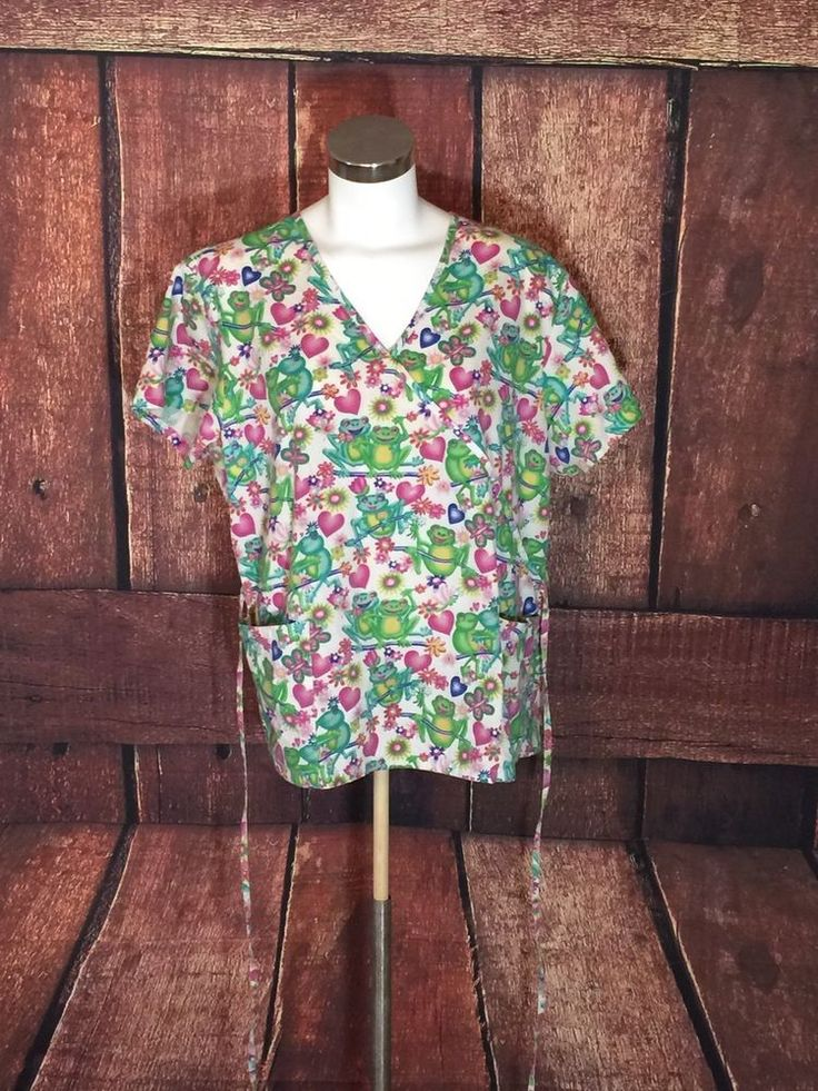 Absolute Nurses Uniform Scrub Happy Frog Print Top Sz Large (BB12)  | eBay