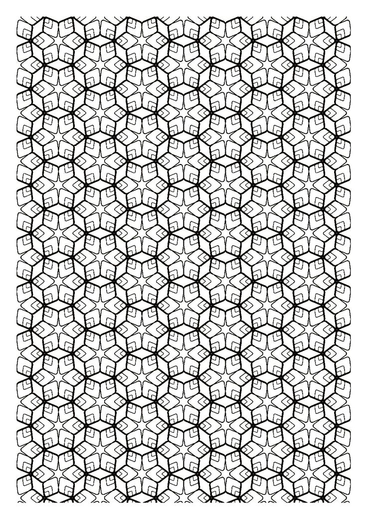 Free coloring page «coloring-difficult-zen-symmetry». Coloring page with drawing fractals (repeating units smaller and smaller, but identical). At your pens!