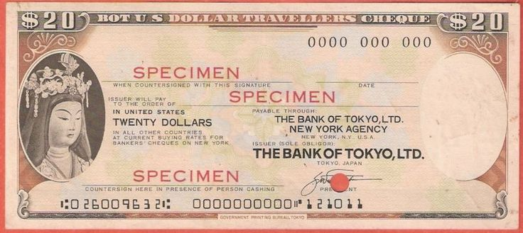 Stock/Bond: Rare Usa 20 Dollars The Bank Of Tokyo Ltd Specimen Travellers Cheque #21