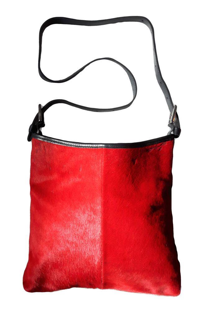 Rare ROOTS Limited Edition Genuine Red Calf Pony Hair & Black Leather handbag #AuthenticROOTSCANADAluxurydesignersatchel #BucketBagEveningBagHoboSatchelShoulderBag
