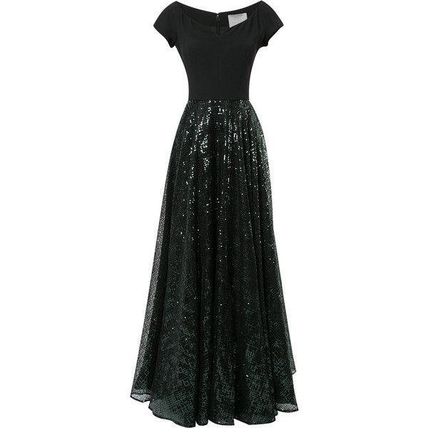 Ingie Paris sequined gown ($3,340) ❤ liked on Polyvore featuring dresses, gowns, black, sequin evening dresses, sequin gown, sequin embellished dress, sequin evening gowns and sequin dress