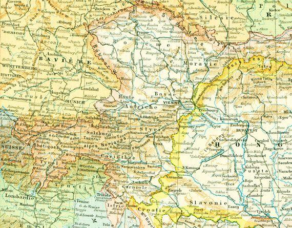 1897 Carte  Autriche Hongrie Gravure historique Nouveau Larousse illustré Grand Format Illustration 115 ans d'âge