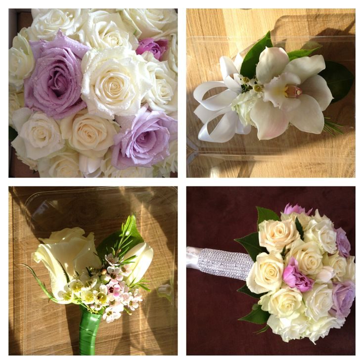 Gorgeous wedding bouquet, whites and ivories and a touch of lilac, White cymbidium orchid and rose corsage. Flowers by Bridal Perfection. Gorgeous Rose bouquet.