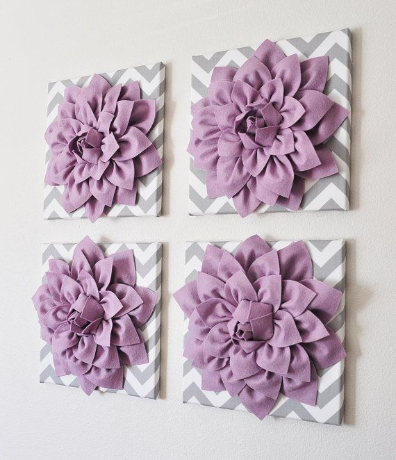 Felt Flowers Wall Decor : Purple wall decor set of four lilac dahlias on gray and