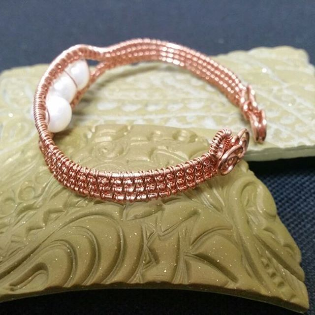 "17 Likes, 2 Comments - charul bakhda (@gemhance) on Instagram: ""Pearl and copper wire woven bangle handmade. So comfortable to wear. Would you like one? Silver…"""