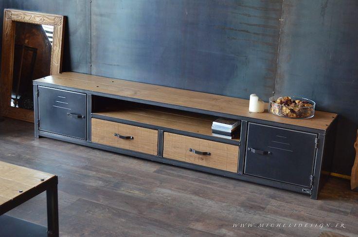 Meuble tv acier bois pour un style industriel- réalisation sur mesure- Fabrication Artisanale Française MICHELI Design http://michelidesign.fr