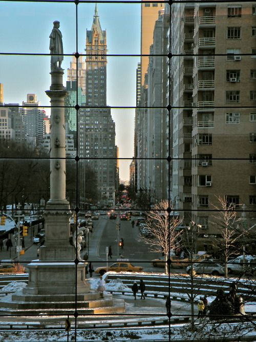 Columbus Circle facing Central Park South, NYC - viewed from inside the Time Warner Center.