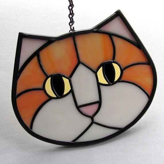 Orange White Stained Glass Kitty Cat Face Suncatcher Amber