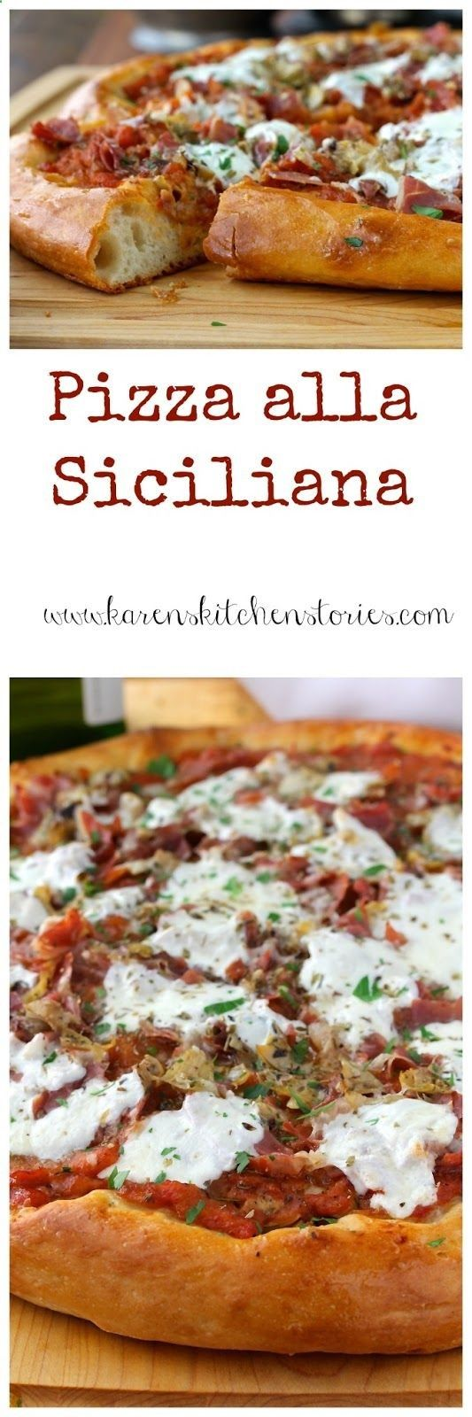 This Pizza alla Siciliana is loaded with a light and fresh sauce, as well as the flavors of anchovies, roasted artichoke hearts, and prosciutto. Its topped with thin slices of fresh mozzarella cheese. From Karens Kitchen Stories