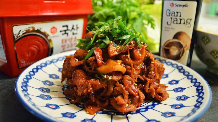 Korean Spicy Pork Recipe : Korean Food : Pork Bulgogi : Simple & Easy Cooking in Minimalist Kitchen : 돼지불고기, 제육볶음, 제육볶음 맛있게 만드는법   Asian at Home