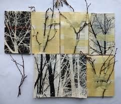 Ines Seidl working with paper. Fabulous way she uses the twigs with drawings all on pages of a book.