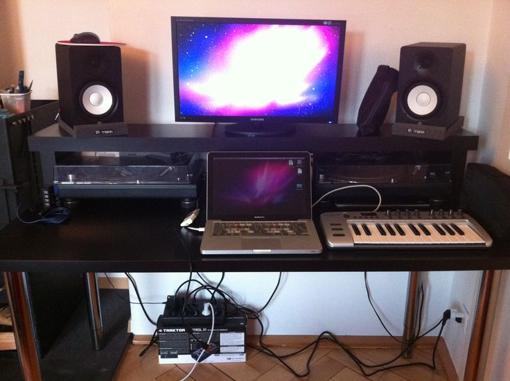 74 best images about audio video on pinterest rack shelf for Studio desk ikea