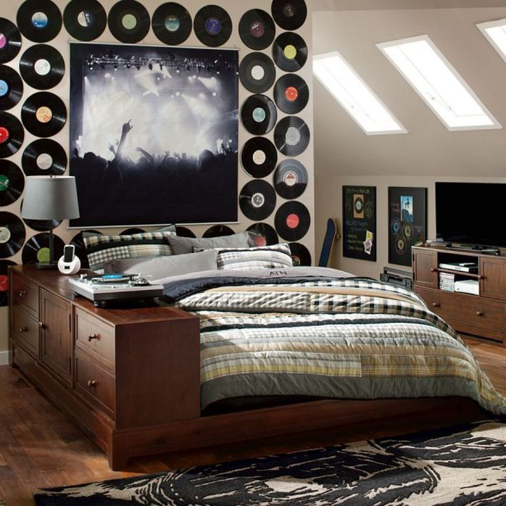 music theme tween bedroom with wooden bed frame